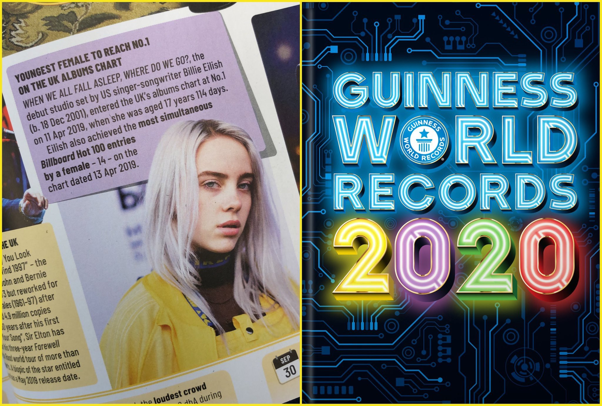 Guinness World Records 2020 List.Billie Is Featured In The Guiness World Records 2020 Book